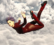 Super heroine in the sky Stock Images