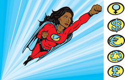Super Heroine to the rescue. Super heroine drawing where her crest can be removed Stock Images