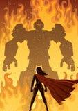 Super Heroine Versus Robot Royalty Free Stock Photography