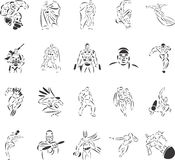 Super Heros. 20 themed EPS images related to super heros. The number of vector nodes is absolute minimum. The images are very easy to use and edit and are stock illustration