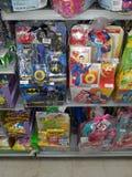 Super heros. Toys Easter basket stock images