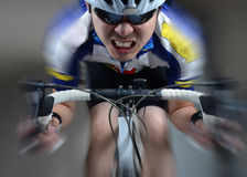 Super high speed Cycler riding Stock Photography