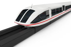Super High Speed Futuristic Commuter Train. 3d Rendering. Super High Speed Futuristic Commuter Train on a white background. 3d Rendering Royalty Free Stock Photography