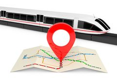 Super High Speed Futuristic Commuter Train Near Folded Abstract. Navigation Station Map with Map Pointer Pin on a white background. 3d Rendering Stock Photography