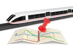 Super High Speed Futuristic Commuter Train Near Folded Abstract. Navigation Station Map with Pin on a white background. 3d Rendering Royalty Free Stock Photo