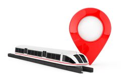 Super High Speed Futuristic Commuter Train near Target Pin Pointer. 3d Rendering. Super High Speed Futuristic Commuter Train near Target Pin Pointer on a white vector illustration