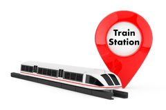Super High Speed Futuristic Commuter Train near Target Pin Pointer with Train Station Sign. 3d Rendering. Super High Speed Futuristic Commuter Train near Target stock illustration