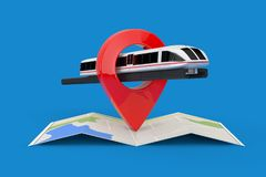 Super High Speed Futuristic Commuter Train over Folded Abstract Navigation Map with Target Pin Pointer. 3d Rendering. Super High Speed Futuristic Commuter Train vector illustration