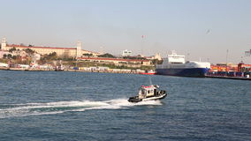 Super high speed sea taxi boat sails in Bosporus in Istanbul stock video