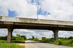Super Highway. Asphalt Road Under Bypass Road Leading to the City Royalty Free Stock Photo