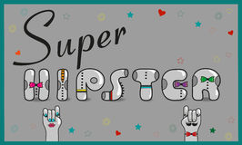 Super Hipster. Artistic gray font Royalty Free Stock Photography