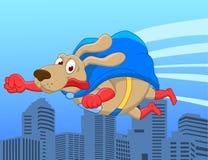 Super hond die over stad vliegt Stock Afbeeldingen