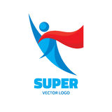 Super - human character logo template. People flying man. Hero sign. Design element Royalty Free Stock Photography