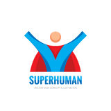 Super human character - vector business logo template concept in flat style. People hero creative sign. Flying man. Design element Stock Photo