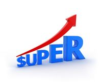 Super Increasing. Arrow and text showing the increase of Superannuation Royalty Free Stock Images