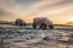 Super jeep in iceland. Super jeeps in iceland heading to the ice caves Royalty Free Stock Photos