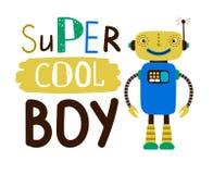 Super kühles Jungenentwurfst-shirt Flacher Charakterroboter stock abbildung