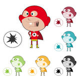 Super Kid Sticker. Illustration of funny cartoon super kid sticker with multiple colors Royalty Free Stock Photography
