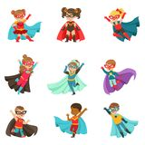 Super kids set, boys and girls in superhero costumes colorful vector Illustrations royalty free illustration