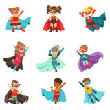 Super kids set, boys and girls in superhero costumes colorful vector Illustrations Stock Photography