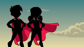 Super Kids Sky Silhouette. Silhouette illustration of superhero children wearing capes against sky background for copy space royalty free illustration