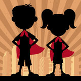 Super Kids 2. Square banner of super kids. No transparency and gradients used royalty free illustration