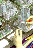 Super- Kleber für Super-architector Stockbilder