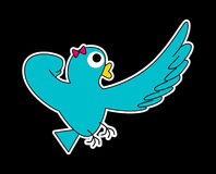 Super Lady-bird. A turquoise Super Lady-bird, she's pointing at something faraway. (White stroke version Stock Photos