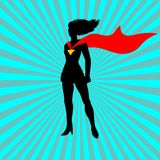 Super lady.Cartoon super woman with red tape. Super lady illustration.Super woman silhouette stock illustration