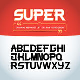 `Super letters` isolated on black background. Modern font. Latin alphabet letters. Alphabet. Royalty Free Stock Photos