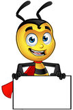Super Little Bee - Holding blank Board. A cartoon illustration of a cute looking Superhero Little Bee Character royalty free illustration