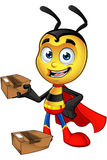 Super Little Bee - Holding Parcel. A cartoon illustration of a cute looking Superhero Little Bee Character vector illustration