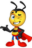Super Little Bee - Pointing. A cartoon illustration of a cute looking Superhero Little Bee Character vector illustration