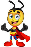 Super Little Bee - Two Thumbs Up. A cartoon illustration of a cute looking Superhero Little Bee Character stock illustration