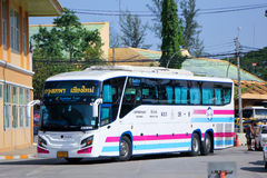 Super long Scania 15 meter bus of Sombattour company no.18-8. Royalty Free Stock Photography