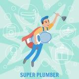 Super Loodgieter De loodgieterswerkdienst Vector stock illustratie