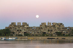 Super maan en Habitat 67 Royalty-vrije Stock Foto