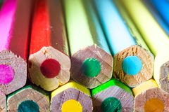Super macro shot of colored pens stock images
