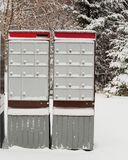 Super mail boxes. Community mail boxes in winter, Canada royalty free stock photos