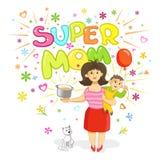 Super mama - kartka z pozdrowieniami dla matka dnia Zdjęcie Royalty Free