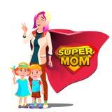 Super mama wektor Macierzysty s dzień Osłony odznaka Odosobniona Płaska kreskówka Illudtration royalty ilustracja