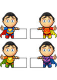 A Super Man Character - With Blank Sign Stock Photography
