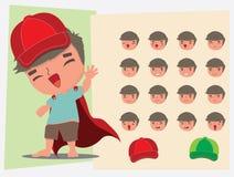 Super man. face emotions. flat vector illustration Stock Photography