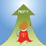 Super man get profit up Stock Images