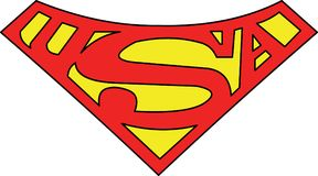 Super man S symbol Vector from A Nation Divided. DC Comics Character Superman`s S insignia as seen in Superman: A Nation Divided 1999 by Roger Stern and Eduardo stock illustration