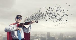 Super man with violin Royalty Free Stock Photography
