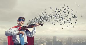 Super man with violin Royalty Free Stock Image