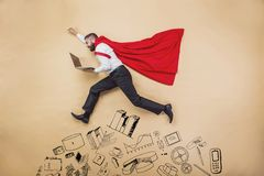 Super manager. Manager with coat of superman. Superhero in studio Royalty Free Stock Photo
