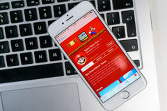 Super-Mario Run-Spiel auf iPhone Lizenzfreies Stockbild