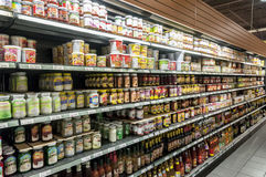 Super market shelf Stock Image